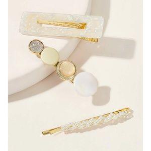 Accessories - 3 PC Glizty Glitter Pearl Beaded Hair Clip Set NWT